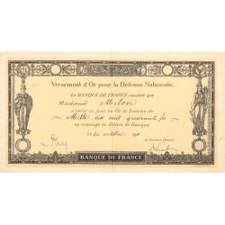 Versement d'or pour la Défense Nationale - 1916