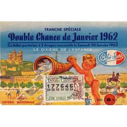 1962 - Loterie Nationale - 1/10ème double chance - Enfance