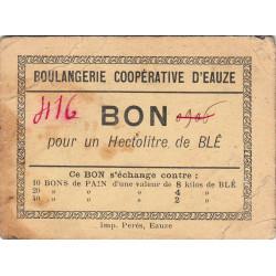 32 - Eauze - Boulangerie Coopérative - Bon pour 1 hectolitre de blé - Type 1 - Etat : TB+