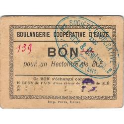 32 - Eauze - Boulangerie Coopérative - Bon pour 1 hectolitre de blé - Type 2 - Etat : TTB