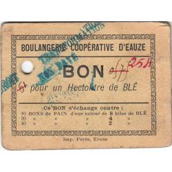 32 - Eauze - Boulangerie Coopérative - Bon pour 1 hectolitre de blé - Type 3 - Etat : TB+