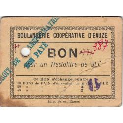 32 - Eauze - Boulangerie Coopérative - Bon pour 1 hectolitre de blé - Type 4 - Etat : TB+