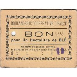 32 - Eauze - Boulangerie Coopérative - Bon pour 1 hectolitre de blé - Type 7 - Etat : TB+ à TTB