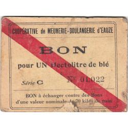 32 - Eauze - Coopérative de Meunerie Boulangerie - Bon pour 1 hectolitre de blé - Série C - Etat : TB à TB+