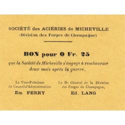 52 - Marnaval - Aciéries de Micheville - 0,25 franc - Etat : SPL à NEUF
