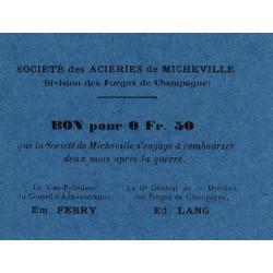 52 - Marnaval - Aciéries de Micheville - 0,50 franc - Etat : SPL à NEUF