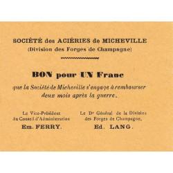 52 - Marnaval - Aciéries de Micheville - 1 franc - Etat : SUP à SPL
