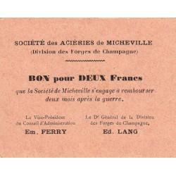 52 - Marnaval - Aciéries de Micheville - 2 francs - Etat : SPL à NEUF