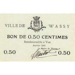 52 - Wassy - 50 centimes - Janvier 1916 - Etat : SPL à NEUF