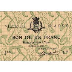 52 - Pirot 49_1 - Wassy - 1 franc - Septembre 1916 - Etat : SPL à NEUF