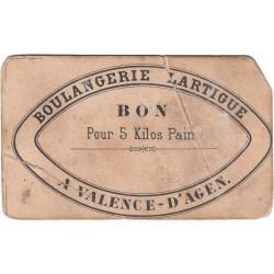82 - Valence d'Agen - Boulangerie Lartigue - Bon pour 5 kg de pain - Etat : B