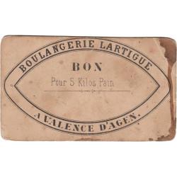 82 - Valence d'Agen - Boulangerie Lartigue - Bon pour 5 kg de pain - Etat : TB