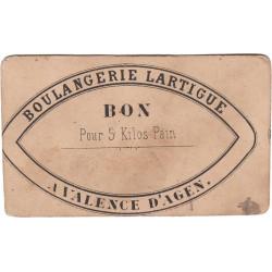 82 - Valence d'Agen - Boulangerie Lartigue - Bon pour 5 kg de pain - Etat : TTB