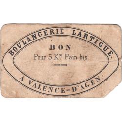 82 - Valence d'Agen - Boulangerie Lartigue - Bon pour 5 kg de pain bis - Etat : AB à B-