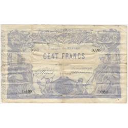 F A39-09 - 16/01/1873 - 100 francs - Indices - Noirs - Etat : TB+