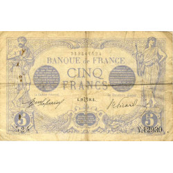 F 02bis-04 - 19/07/1916 - 5 francs - Bleu lion inversé - Etat : TB