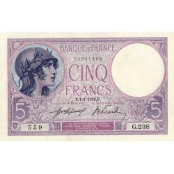 F 03-02 - 04/01/1918 - 5 francs - Violet - Etat : SPL