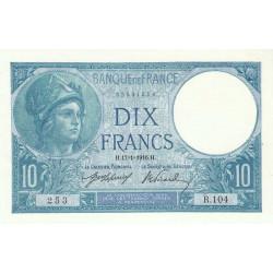 F 06-01 - 14/01/1916 - 10 francs - Minerve - Etat : SPL
