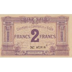 Agen - Pirot 2-5a - 2 francs - 05/11/1914 - Etat : SPL