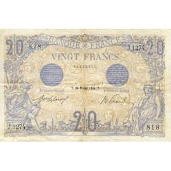 F 10-02 - 24/02/1912 - 20 francs - Bleu - Etat : TTB