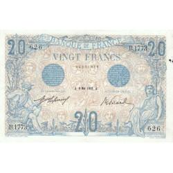 F 10-02 - 09/05/1912 - 20 francs - Bleu - Etat : SUP-