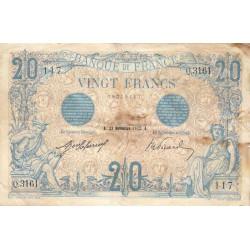 F 10-02 - 23/11/1912 - 20 francs - Bleu - Etat : TB+