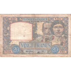 F 12-01 - 07/12/1939 - 20 francs - Science et Travail - Etat : TB-