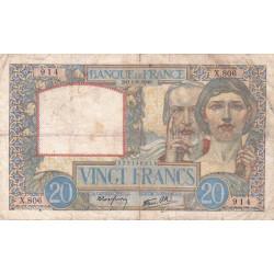 F 12-05 - 01/08/1940 - 20 francs - Science et Travail - Etat : TB-