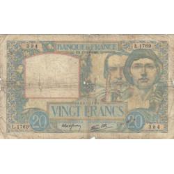 F 12-09 - 17/10/1940 - 20 francs - Science et Travail - Etat : B+