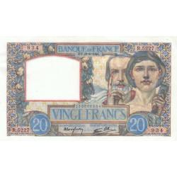 F 12-17 - 28/08/1941 - 20 francs - Science et Travail - Etat : SPL