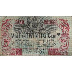 Belgique - Bruge - BR195 - 25 centimes - 01/06/1915 - Etat : TB+