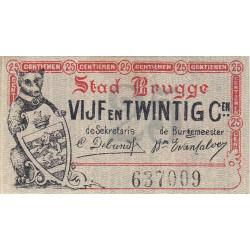 Belgique - Bruge - BR196 - 25 centimes - 01/06/1915 - Etat : SPL