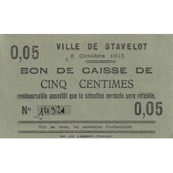 Belgique - Stavelot - ST45 - 5 centimes - 05/10/1915 - Etat : SPL à NEUF