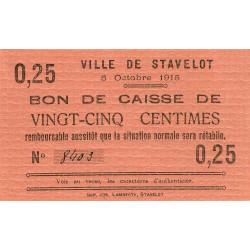 Belgique - Stavelot - ST59 - 25 centimes - 05/10/1915 - Etat : SPL à NEUF