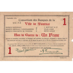 Belgique - Tournai - TO61 - 1 franc - 01/09/1914 - Etat : TB