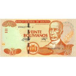 Bolivie - Pick 244 - 20 bolivianos - Loi 1986 (2015) - Série J - Etat : NEUF
