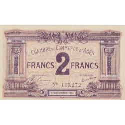 Agen - Pirot 2-5b - 2 francs - 05/11/1914 - Etat : SUP