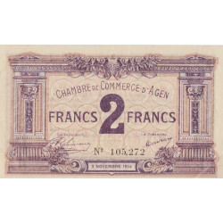 Agen - Pirot 2-5b - 2 francs - 1914 - Etat : SUP