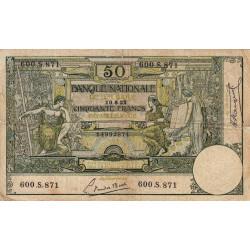 Belgique - Pick 68b - 50 francs - 1922 - Etat : TB