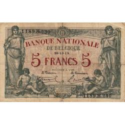 Belgique - Pick 75b - 5 francs - 30/12/1919 - Etat : TB