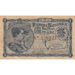 Belgique - Pick 92 - 1 franc - 1920 - Etat : TTB