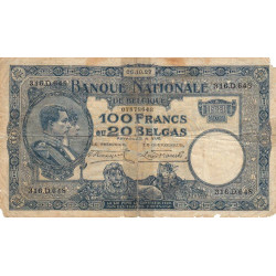 Belgique - Pick 102 - 100 francs ou 20 belgas - 06/10/1927 - Etat : B-