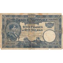 Belgique - Pick 102 - 100 francs ou 20 belgas - 1927 - Etat : B-