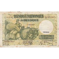Belgique - Pick 106_3 - 50 francs ou 10 belgas - 11/07/1938 - Etat : TB-