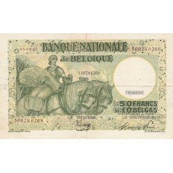 Belgique - Pick 106_6 - 50 francs ou 10 belgas - 05/01/1945 - Etat : TTB