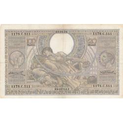 Belgique - Pick 107_1 - 100 francs ou 20 belgas - 03/04/1934 - Etat : TTB