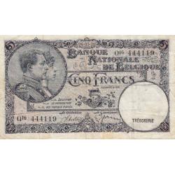 Belgique - Pick 108a - 5 francs - 05/05/1938 - Etat : TB