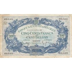 Belgique - Pick 109_1 - 500 francs ou 100 belgas - 10/05/1939 - Etat : TB-