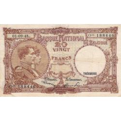 Belgique - Pick 116 - 20 francs - 01/09/1948 - Etat : TB-