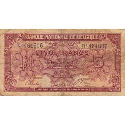 Belgique - Pick 121_1 - 5 francs ou 1 belga - 1943 - Etat : B+